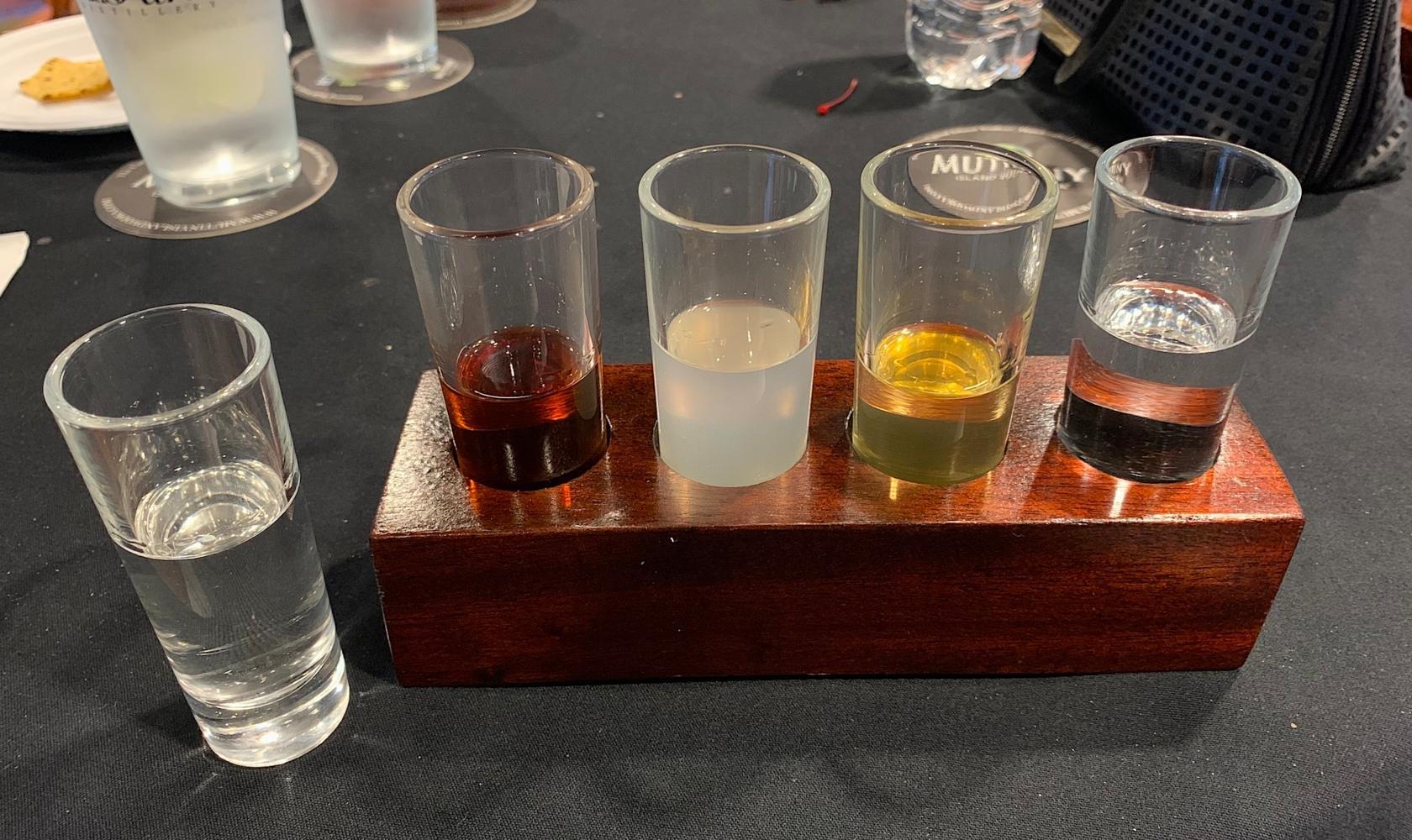 Scion Farm Distillery - a flight of vodka samples
