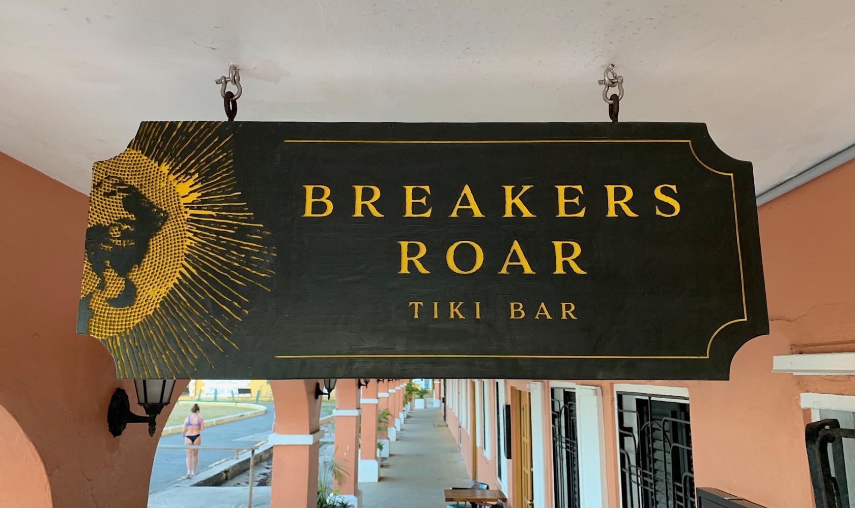 Breakers Roar Tiki Bar - entry sign